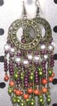 Round fish hook beaded earring with assorted bead fringe design