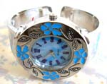 Crafted jewelry B2B trade store wholesale China made Girls fashion silver plated bangle bracelet watch with blue enamel flower designs