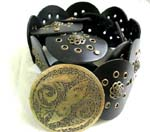 China made apparel outlet wholesales quality Black imitation leather fashion belt in circle design with celtic style floral emblem and cut-out holes, plus decorated metal buckle