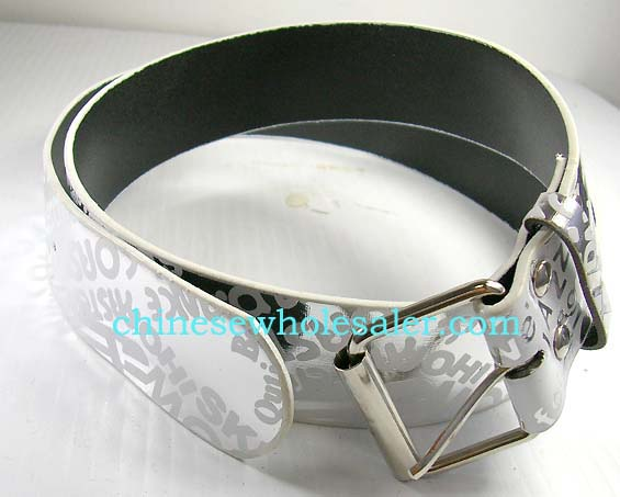 China imported clothing accessories at wholesale cost. Silver belt with cool lettering covering entire band and a silver buckle.