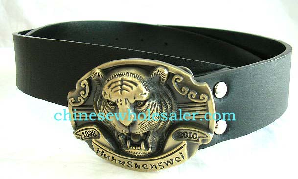 Men and women fashion imported wholesale by China distribution company. Black imitation leather belt with lion head metal buckle at center
