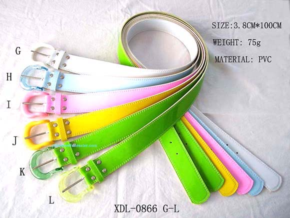 China fashion accessory importing company distributes fun PVC belts that come in assorted colors and have translucent colored buckle.