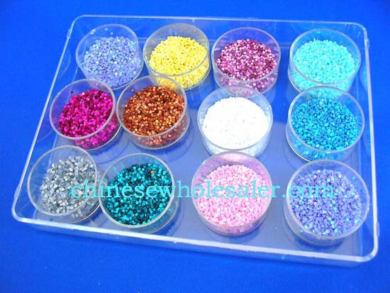 China products supplying nail salon with Diamond shape nail art decor, included 12 colors in individual containers per box