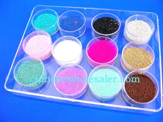 Online China nail accessory distributors supplyingimported products. Ball beaded nail art decor, included12 colors in individual containers per box