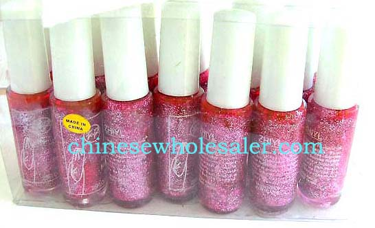 China import dealers supplying health and beauty supplies. Pink glitter nail polish.