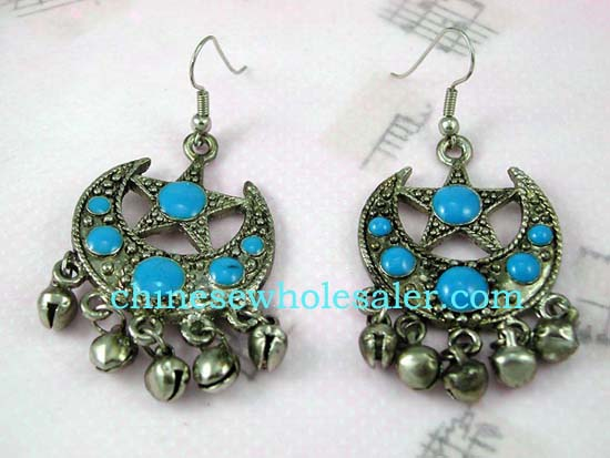 Buy wholesale jewelry from China online at affordable cost. Half moon silver plated earrings with turquoise stones inalid and a star shape above embedded with circular stone, beneath moon hangs five jingle bells