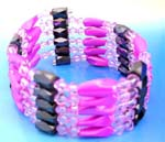 Online outsourcing China jewelry distributio comapny supplying wholesale Fashion hematite wraps. Translucent pink rhinestones, opaque pink, long facted cylinder beads and faceted cylinder shape magnetic hematite beads inlaid. Wear as a necklace, bracelet, choker