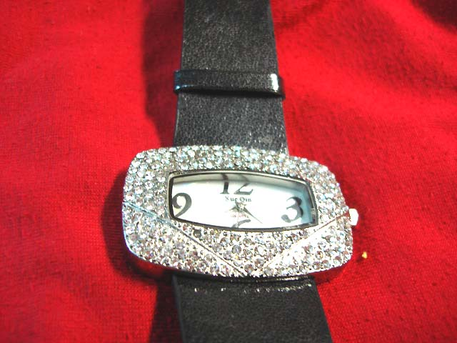 Import jewelyr distributor - Black strap on gem embedded fashion watch with large rectangular frame