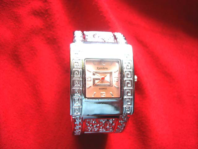 Direct Ladies silver watch with squared spiral design frame and vintage etchings bangle bracelet  wholesaler