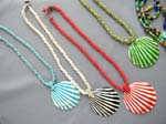 Import jewelry factory supplier, White and colored stripe design seashell pendant on bali beaded string necklace