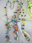 Tropical balinese accessory wholesale distributor, Crafted spring style necklaces with colorful beads and blown glass bead on cord
