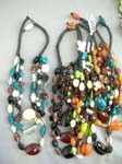 Indonesian wear wholesale outlet, Beach necklace with unique summer stones and glass blown beads on black cord
