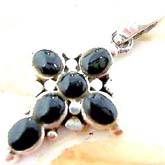 Multi black onyx stone forming central square cross  sterling silver pendant