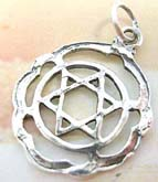 Sterling silver pendant in handcrafted mystic double triangle in circle with wavy edge design
