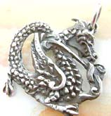 Oriental power handcrafted majestic dragon  sterling silver pendant