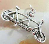 925. sterling silver pendant in twin bicycle design