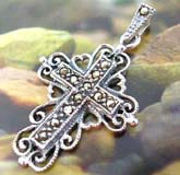 925. sterling silver pendant in flower edge cross  with multi mini marcasite stone embedded on