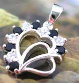 handcrafted double heart love sterling silver pendant with multi mini black and clear cz stone decor around edge