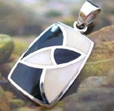 925. sterling silver pendant with golden line sectioned, white mother of pearl and black onyx stone inlaid rectangular
