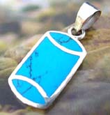 Blue genuine turquoise stone inlaid 925. sterling silver pendant with curv top and bottom