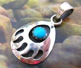 Sterling silver pendant in bottom handcrafted trendy fashion design decor water drop design with a mini roundec turquoise stone inlay at center