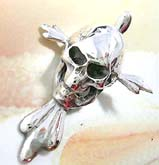 Stick-out head and chin skull  sterlimg silver pendant