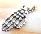 Skeleton hand bone design sterling silver pendant