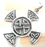 Cut-out Celtic knot work decor cross  sterling silver pendant