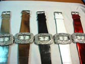 Large gemstone framed fashion watch with wrist strap in an assortment of colors