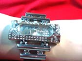 Glamour urban ladies watch in silver with cz gem rectangle frame and 2 solid silver tiers attaching to strap